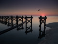 Gulf Coast beach with broken pier after Hurricane Royalty Free Stock Photo