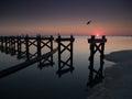 Gulf Coast beach with broken pier after Hurricane Royalty Free Stock Photo