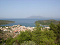Gulf in Greece and small city Royalty Free Stock Photo