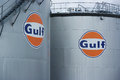 Gulf logo harlingen netherlands august oil storage tank oil lp is a major american oil company formed when cumberland farms Stock Image