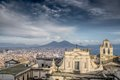 Gulf of naples afternoon panorama panoramic view town and mount vesuvius from sant elmo castle Stock Photography