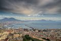 Gulf of naples cloudy day panoramic view town and mount vesuvius from sant elmo castle on a Stock Photos