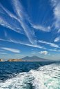Gulf of naples mount vesuvius and castle view castel dell ovo from a boat in the Royalty Free Stock Images