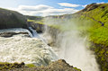 Gullfoss Golden Falls waterfall in the canyon of Hvita river Royalty Free Stock Photo