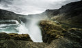 Gullfoss waterfall iceland golden falls about this sound icelandic pronunciation help info is a located in the canyon of hvítá Stock Image