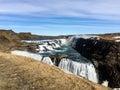Gullfoss waterfall, rainbow, blue sky, Iceland Royalty Free Stock Photo