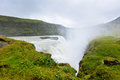 Gullfoss waterfall southern part of iceland at overcast weathe weather horizontal shot Stock Image