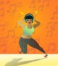 Gullig tonårig flicka som lyssnar till musik med hörlurar Royaltyfri Foto