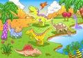 Gulliga dinosaurs i den förhistoriska platsen eps sparar enkla lutningar som är inga verkställer inget kopplar ihop inga Arkivbild