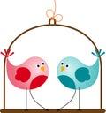 Gulliga valentine love birds Royaltyfri Fotografi