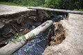 Gully which destroyed the road russia rural areas Stock Images