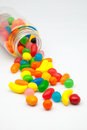 Gum candies jar spilling colors Stock Photo