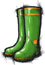 Gumboots green with yellow stripes Royalty Free Stock Photo