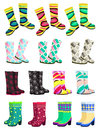 Gumboots set of female isolated on white background Stock Image