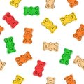 Gummy bears candies hand drawn seamless colorful pattern. Gummy bears candies background.