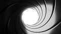 Gun barrel effect - a classic James Bond 007 theme - 3D illustration Royalty Free Stock Photo