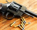 Gun with bullets macro image of a small caliber handgun Royalty Free Stock Photo