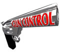 Gun Control Words Pistol Handgun Stop Violence Stock Photos
