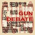 Pištole diskusia bublina so slovami