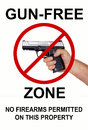 Gun free zone no firearms permitted on this property Royalty Free Stock Photography