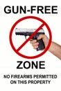 Gun Free Zone, No firearms Royalty Free Stock Photo