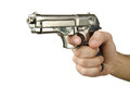 Gun in the hand on white Royalty Free Stock Photography