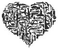 Gun heart black on white background Stock Photography