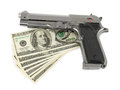 Gun money isolated white background Stock Image