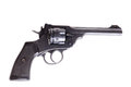 Gun with silencer antique british webley mark vi revolver Royalty Free Stock Photos