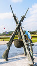 Gun statues naval guns of the statue of thailand Royalty Free Stock Photos