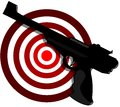 Gun with target illustration representing an isolated black Stock Photography