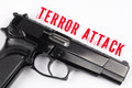 Gun and terror attack inscription Royalty Free Stock Photo