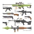 Gun vector military weapon or army handgun and war automatic firearm or rifle with bullet illustration set of shotgun or