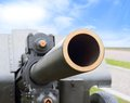 Gun of world war ii artillery on background blue sky Stock Image