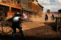Gunfight in town Royalty Free Stock Photo