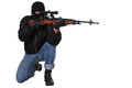 Gunman with sniper rifle isolated on white background Stock Image
