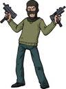 Gunman submachine gun with an automatic weapon illustration Stock Photos