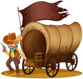 A gunman with a wagon illustration of on white background Stock Photos