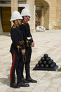 Gunners await firing midday saluting gun valetta malta march Royalty Free Stock Photos