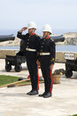 Gunners salute following firing midday saluting gun valetta malta march Royalty Free Stock Photos