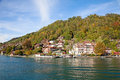 Gunten village on the lake thun switzerland Stock Images