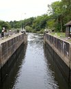 Gunthope lock down river from the at gunthorpe nottinghamshire Royalty Free Stock Images