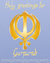 Gurpurab greeting card an illustration of a punjabi birthday with golden lettering and sikh symbol on a starry blue background Royalty Free Stock Photography