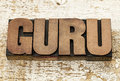 Guru word in wood type vintage letterpress blocks against grunge white painted barn Stock Photo