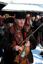 Gutsuls are playing Christmas carols,Ukraine Royalty Free Stock Photos
