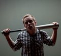 Guy with a baseball bat Royalty Free Stock Photo