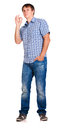 Guy in a checkered shirt isolated jeans and on white background Royalty Free Stock Photos