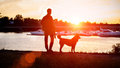 The guy with the dog watching the sunset on the dock. Ukraine. Royalty Free Stock Photo