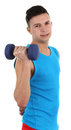 Guy with a dumbell Royalty Free Stock Photos