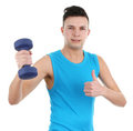 Guy with dumbell Stock Photography